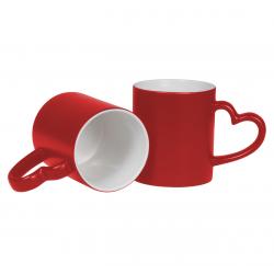 Taza Mágica de color Roja con Asa Corazón 11oz